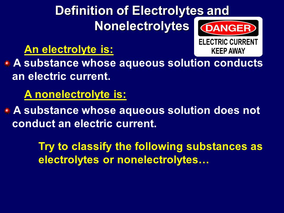 electrical conductivity of electrolytes and non This is the definition of electrical conductivity in electrolytes metals and plasma are examples of materials with high electrical conductivity electrical.