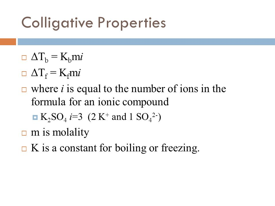 colligative properties Colligative properties, vapor pressure, boiling point elevation, freezing point depression, high school chemistry.