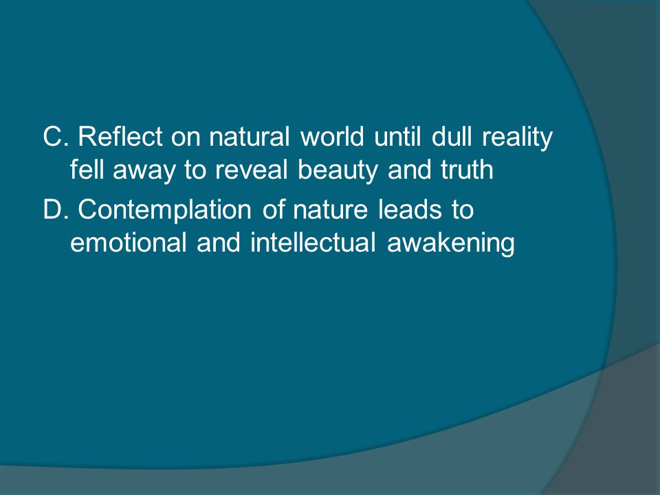 C. Reflect on natural world until dull reality fell away to reveal beauty and truth D.