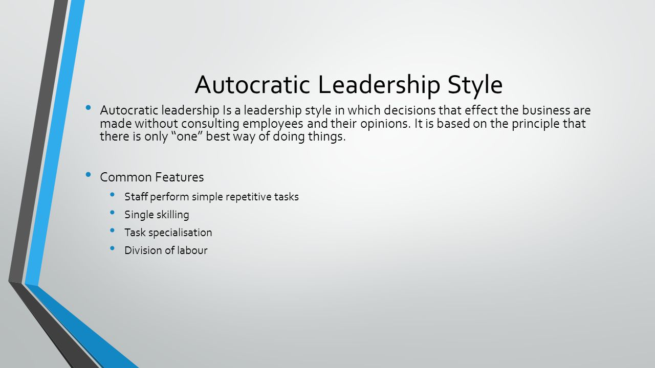autocratic leadership style essay Read this essay on democratic leadership style autocratic leadership style is whereby the leader has much power and makes use of the authority vested on him.