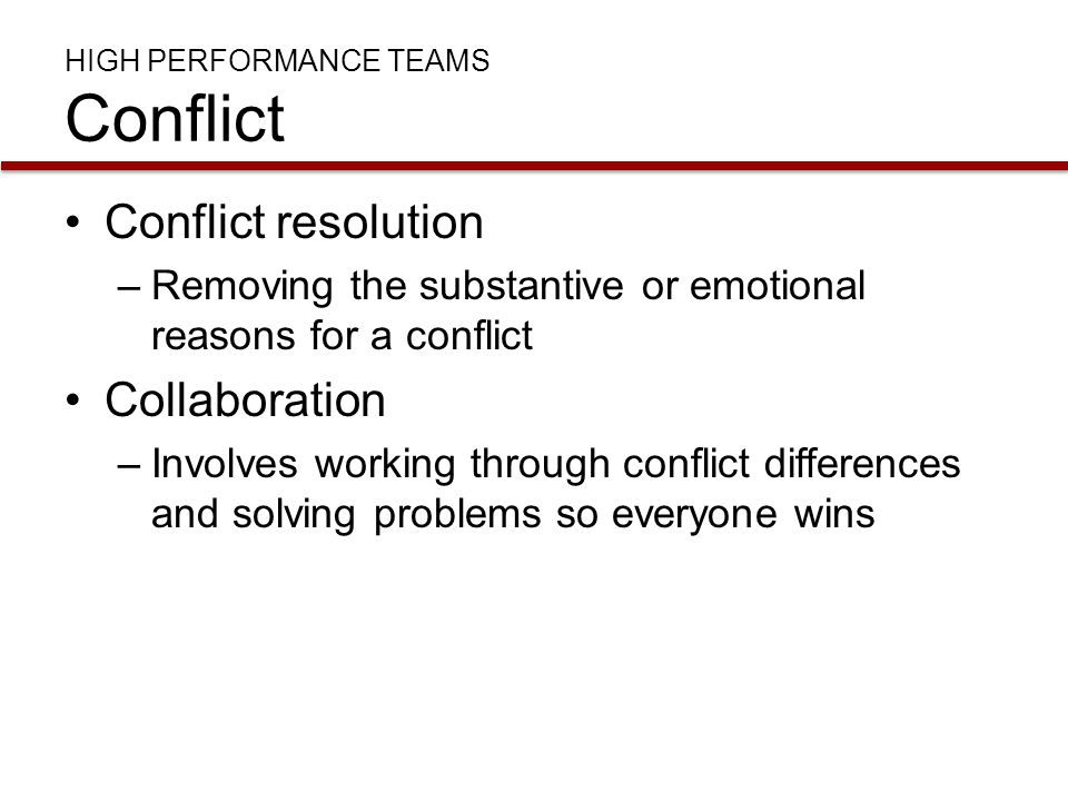 dealing with conflict in work teams essay Resolving conflict in work teams but anyone dealing with conflict can benefit from understanding the elements common to disagreements negotiation.