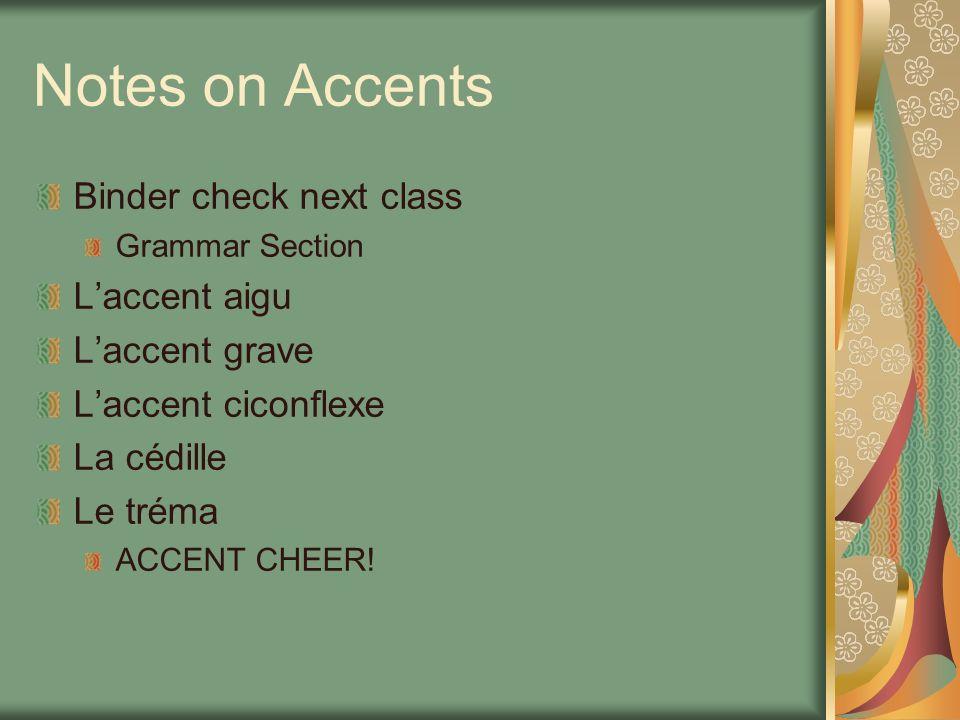 Notes on Accents Binder check next class L'accent aigu L'accent grave