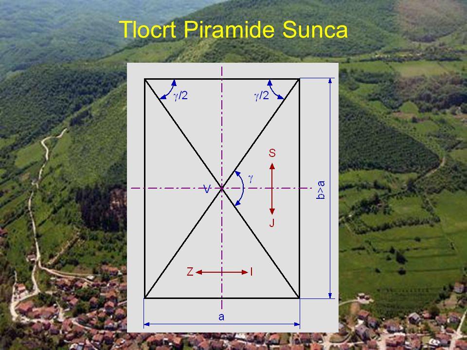 Tlocrt Piramide Sunca Tlocrtni prikaz osnovice Piramide Sunca s projekcijom bridova koja predstavlja dijagonale pravokutnika.