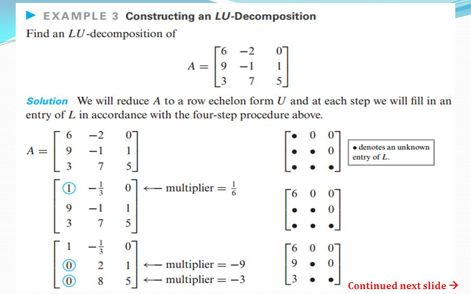 Chapter 9.1 = LU Decomposition MATH 264 Linear Algebra. - ppt video ...