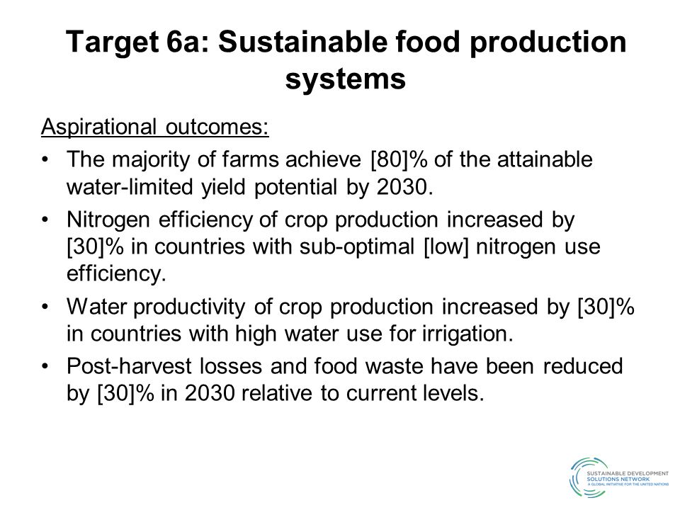 Target 6a: Sustainable food production systems