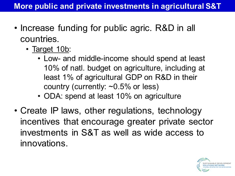 More public and private investments in agricultural S&T