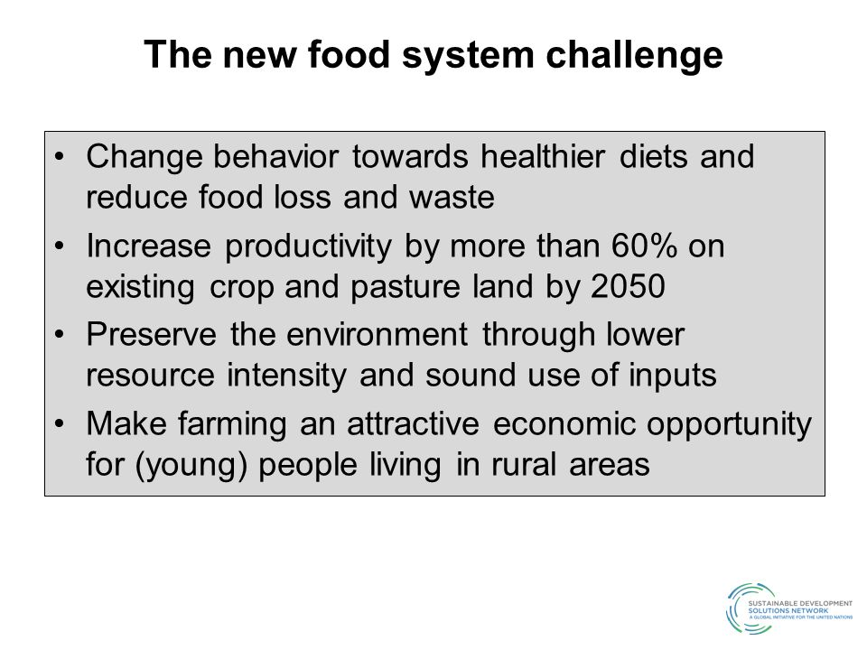 The new food system challenge