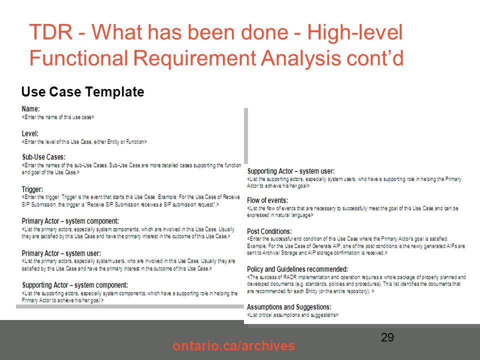 high level requirements template - preserving digital records for the long term building a