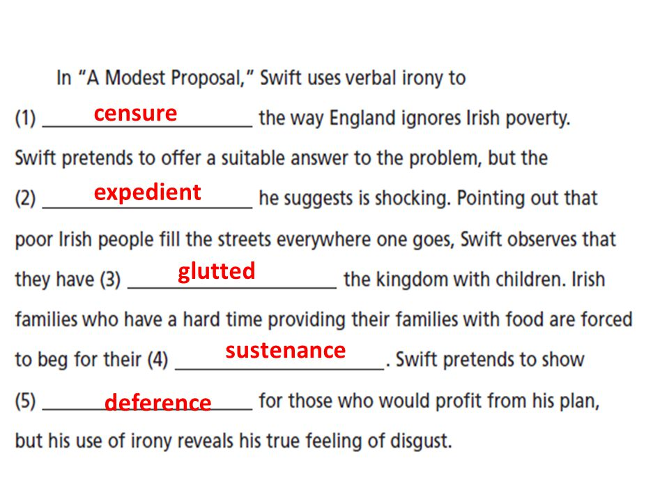 a modest proposal by jonathan swift ppt  22 censure expedient glutted sustenance deference