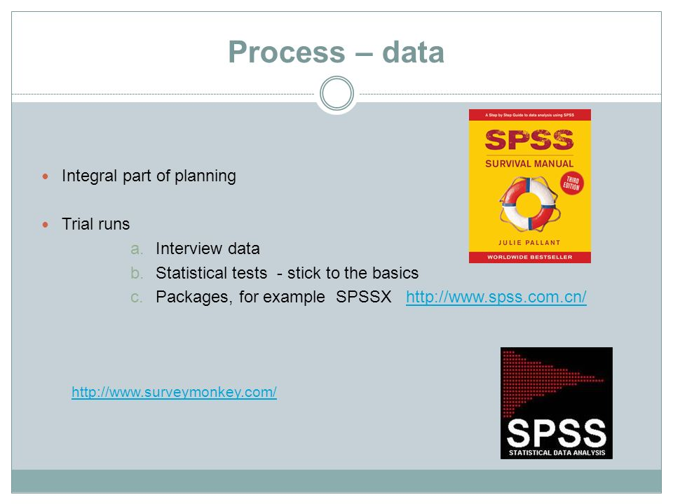 Process – data Integral part of planning Trial runs Interview data