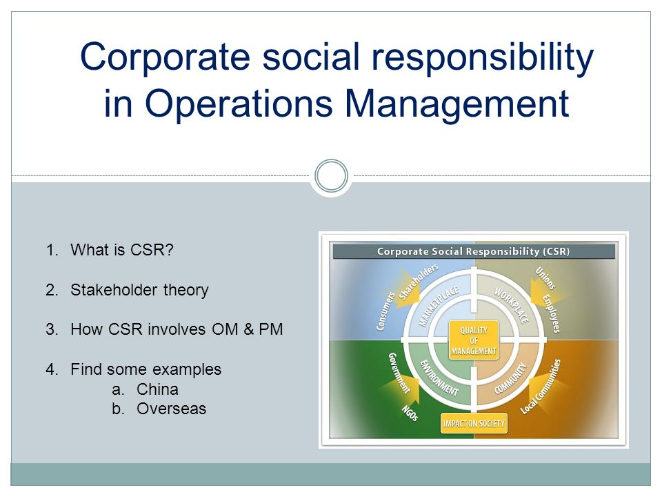 Corporate social responsibility in Operations Management