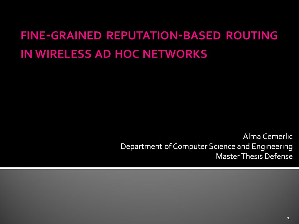 master thesis ad hoc networks The increasing demand for wireless devices and wireless communication tends to research on self-organizing, self-healing networks without the interference of a.