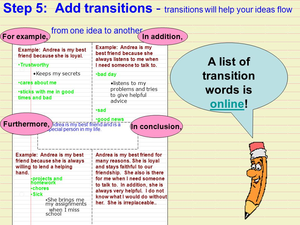 A list of transition words is online!