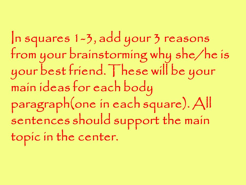 In squares 1-3, add your 3 reasons from your brainstorming why she/he is your best friend.