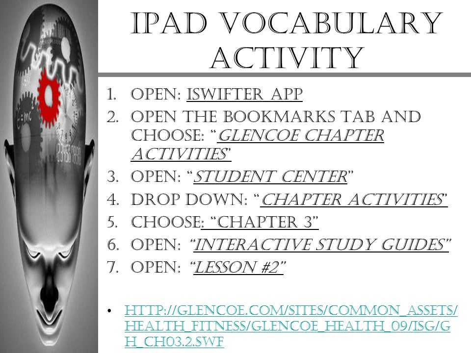 iPad vocabulary activity