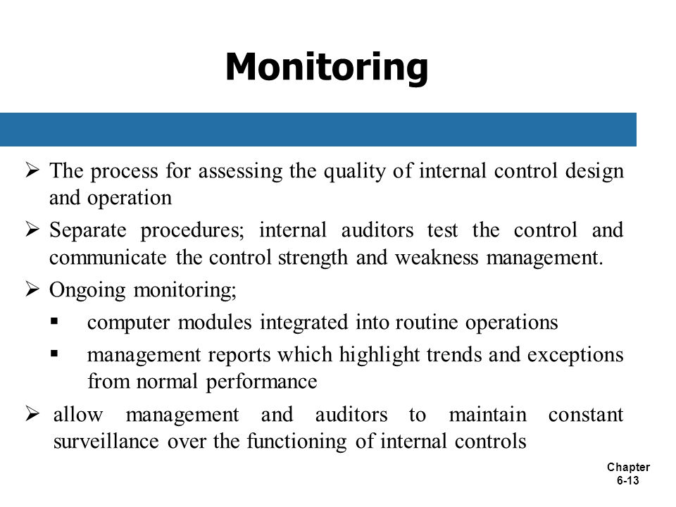 Monitoring The process for assessing the quality of internal control design and operation.
