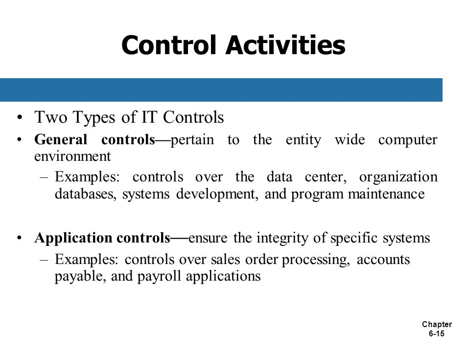 Control Activities Two Types of IT Controls