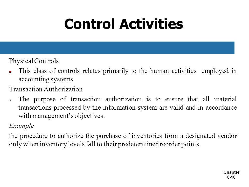 Control Activities Physical Controls