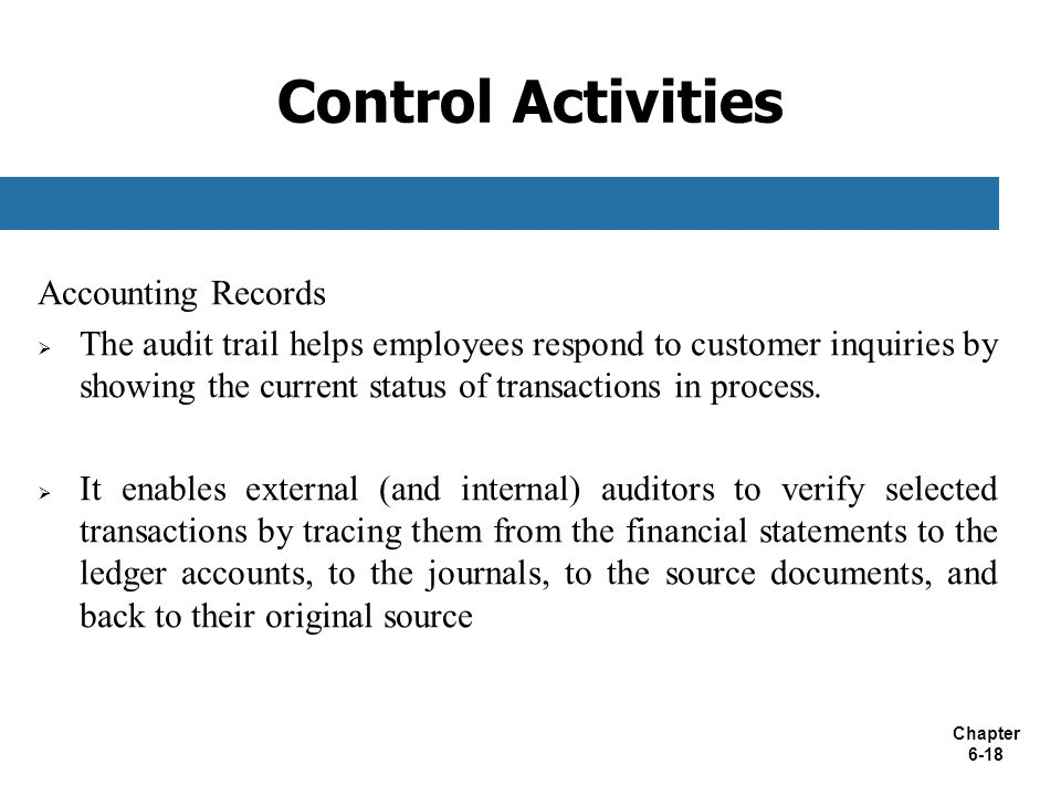 Control Activities Accounting Records