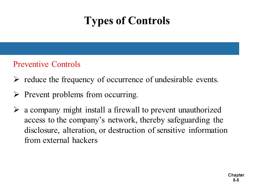 Types of Controls Preventive Controls