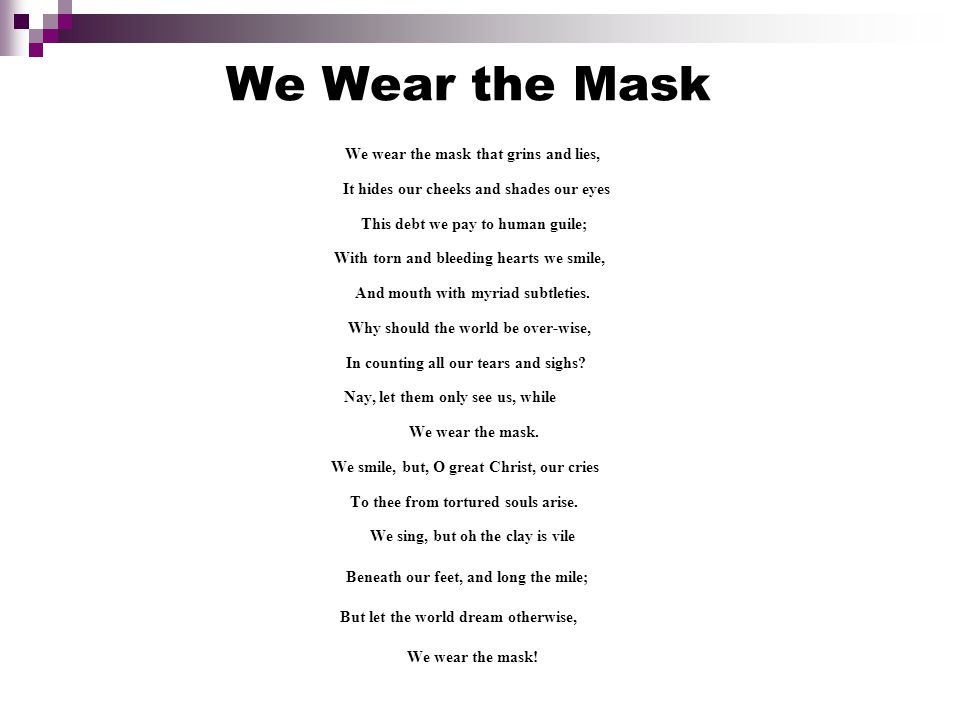 Paul laurence dunbar we wear the mask