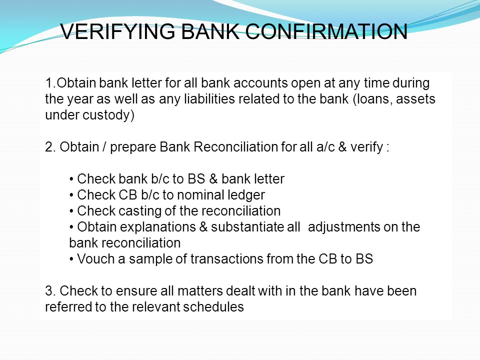 Audit of cash ppt video online download verifying bank confirmation yelopaper Choice Image