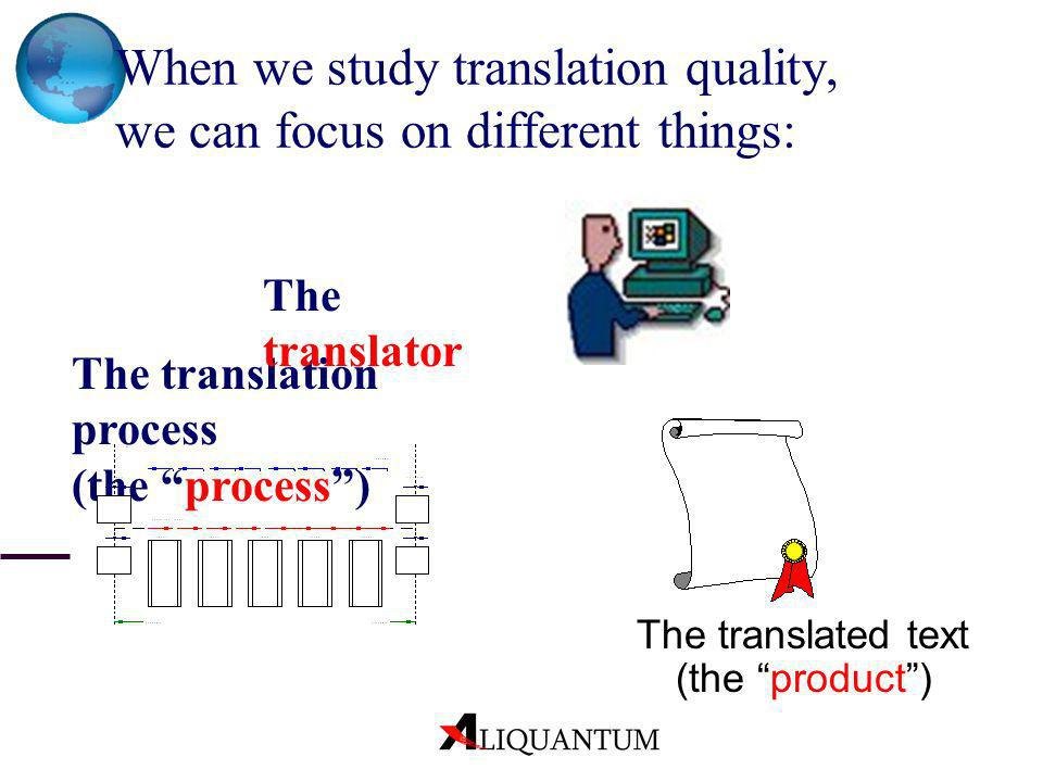 When we study translation quality, we can focus on different things: