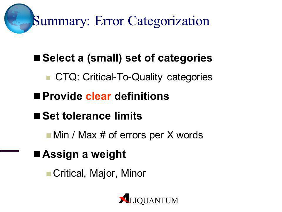 Summary: Error Categorization