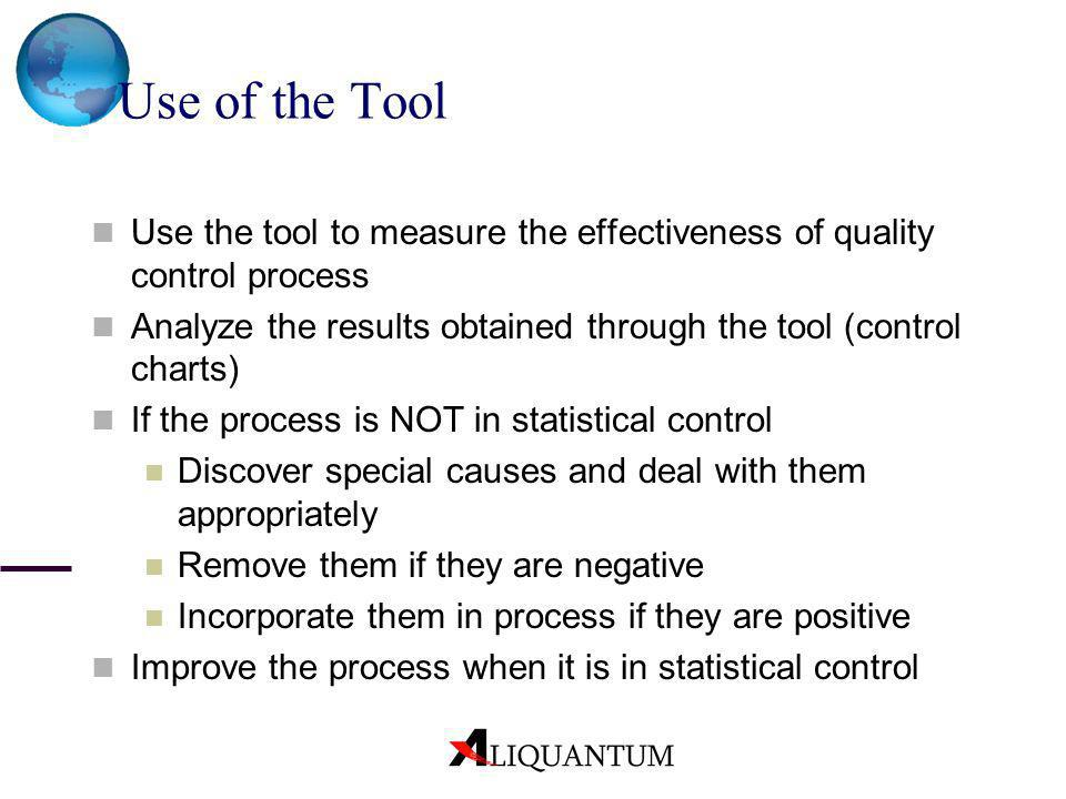 Use of the Tool Use the tool to measure the effectiveness of quality control process. Analyze the results obtained through the tool (control charts)