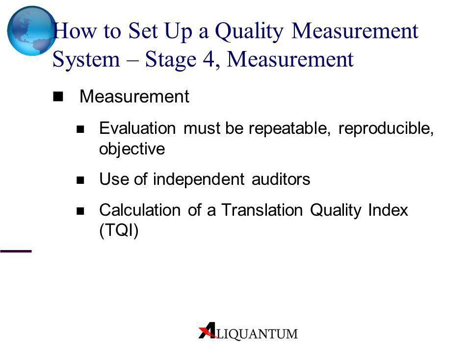 How to Set Up a Quality Measurement System – Stage 4, Measurement