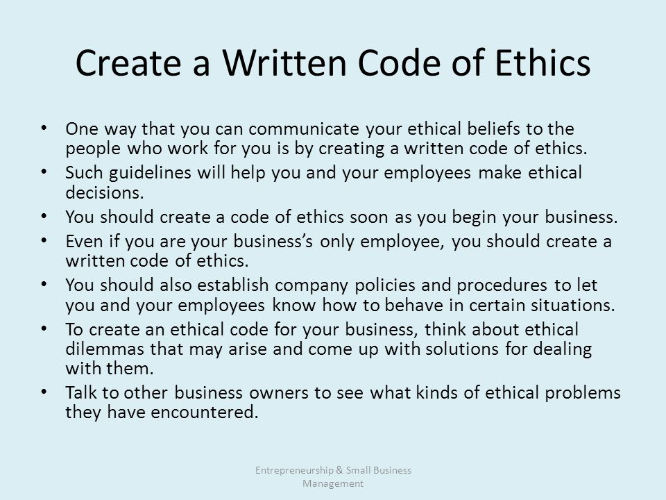 how to develop a code of ethics for your business