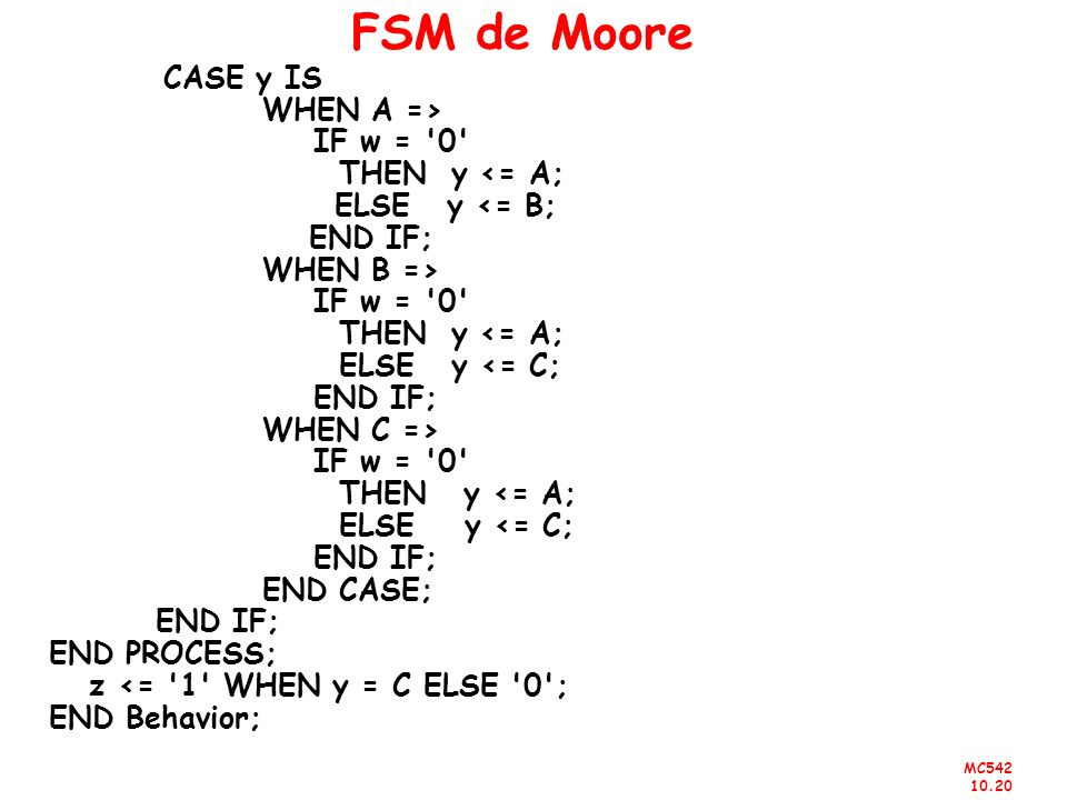 FSM de Moore WHEN A => IF w = 0 THEN y <= A; ELSE y <= B;