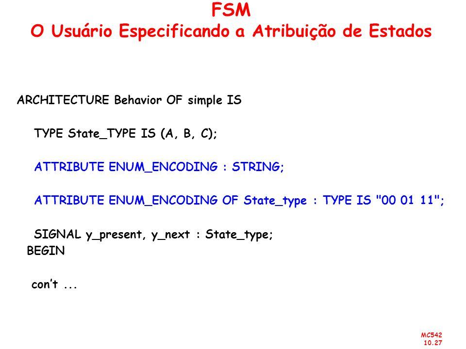 FSM O Usuário Especificando a Atribuição de Estados