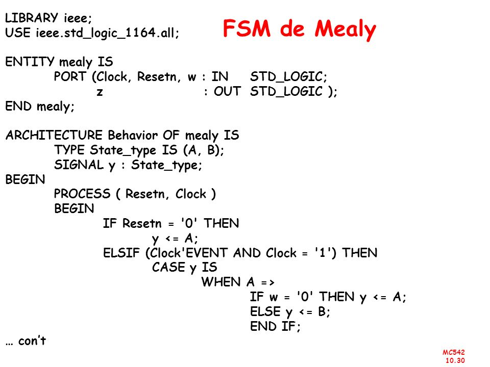 FSM de Mealy LIBRARY ieee; USE ieee.std_logic_1164.all;
