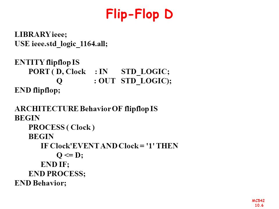 Flip-Flop D LIBRARY ieee; USE ieee.std_logic_1164.all;