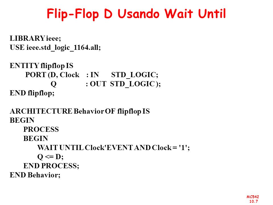 Flip-Flop D Usando Wait Until