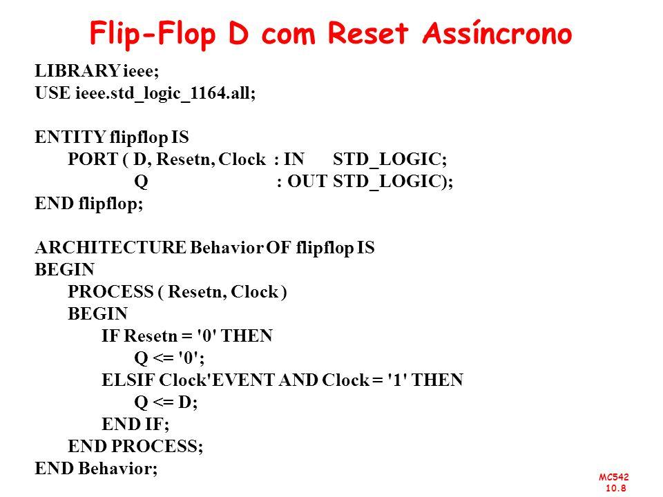 Flip-Flop D com Reset Assíncrono