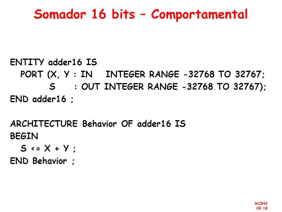 Somador 16 bits – Comportamental