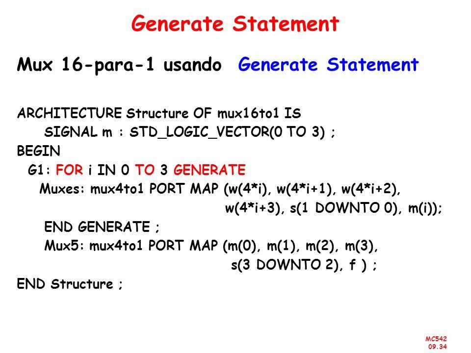 Generate Statement Mux 16-para-1 usando Generate Statement