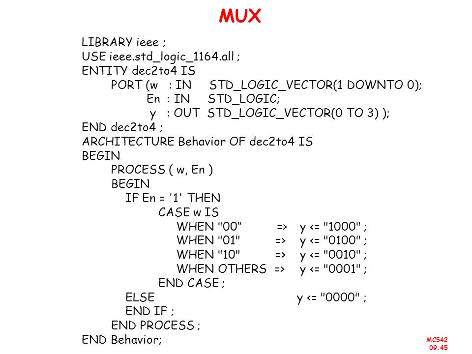 MUX LIBRARY ieee ; USE ieee.std_logic_1164.all ; ENTITY dec2to4 IS