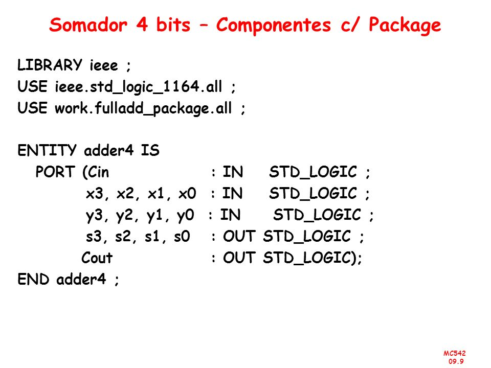 Somador 4 bits – Componentes c/ Package