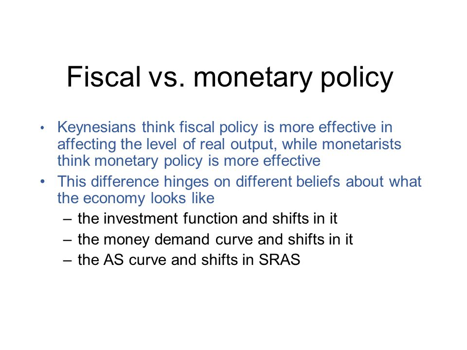 monetary policy vs fiscal policy Discover the differences between fiscal and monetary policy, and how those differences influence a nation's economy over time.