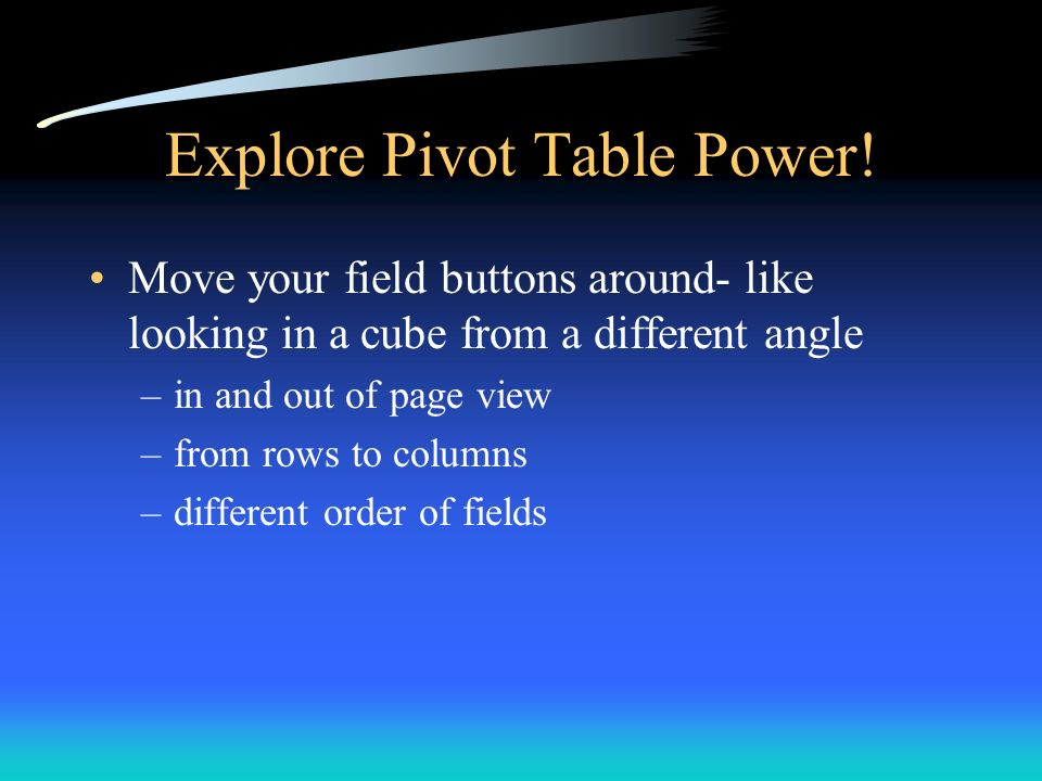 Explore Pivot Table Power!
