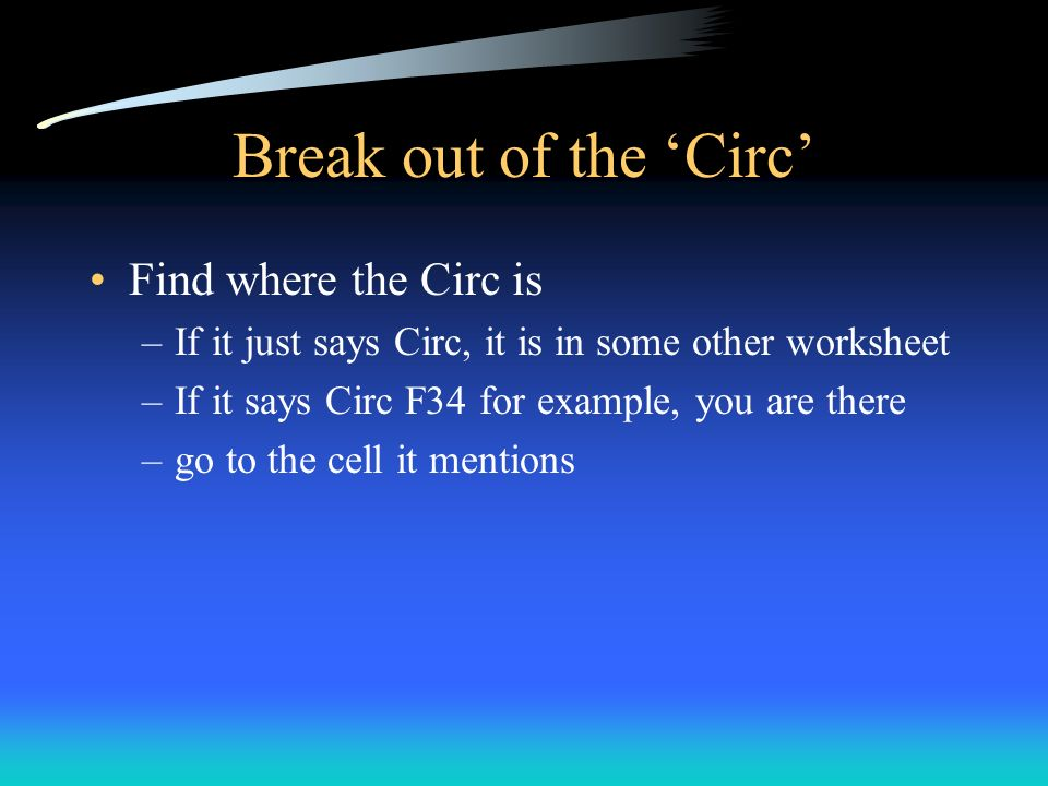 Break out of the 'Circ' Find where the Circ is