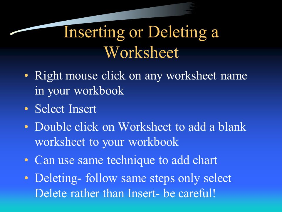 Inserting or Deleting a Worksheet