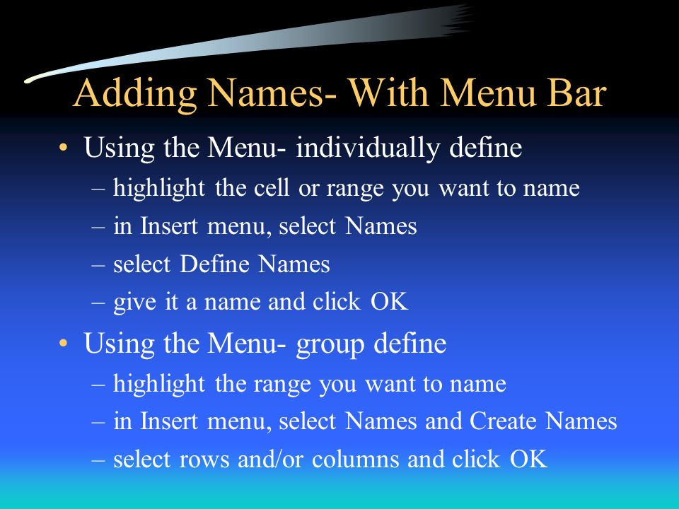 Adding Names- With Menu Bar