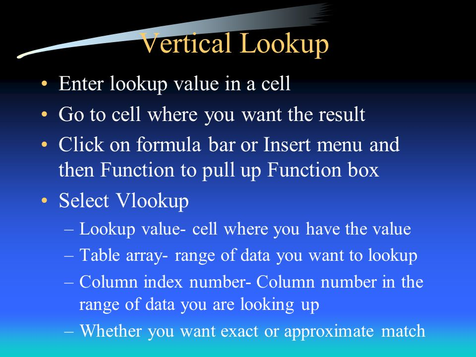 Vertical Lookup Enter lookup value in a cell