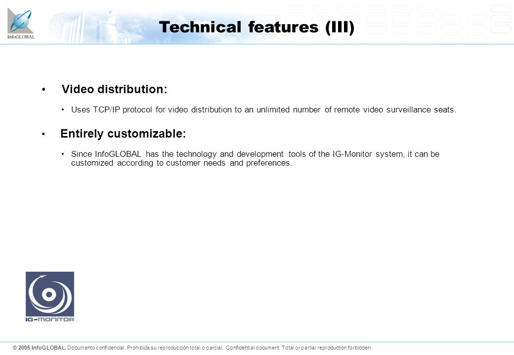 Technical features (III)