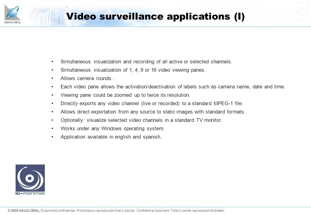 Video surveillance applications (I)