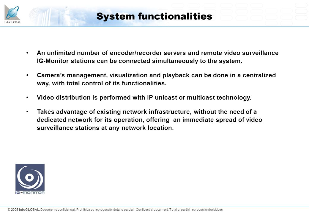 System functionalities